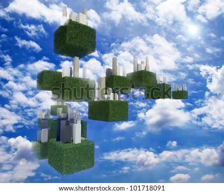 Future sky city in the cloudy sky. - stock photo