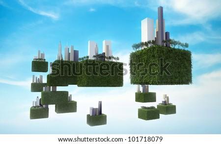 Future sky city in the sky. - stock photo