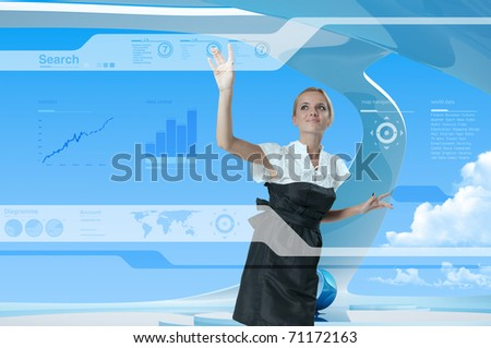 Future Style Interface Navigating By Attractive Blonde (outstanding business people in interiors / interfaces series) - stock photo