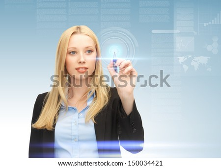 future technology and internet - attractive businesswoman working with virtual screen - stock photo