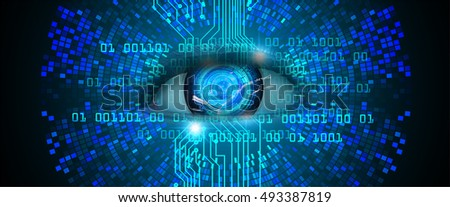 Future technology, blue silver eye cyber security concept background, abstract hi speed digital internet.motion move speed blur. eyeball.