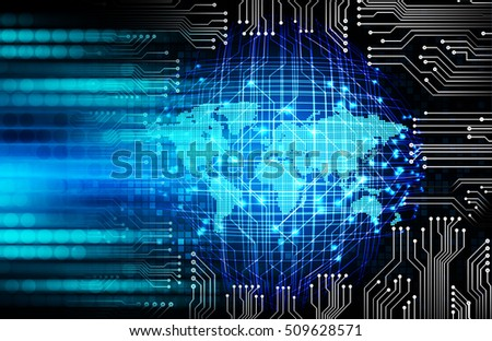 future technology, blue world cyber security concept background, abstract hi speed digital internet.motion move speed blur. pixel