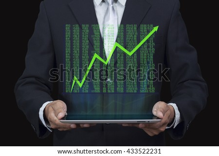 future, technology, business and people concept - male hand with tablet and hologram, clipping path include - stock photo