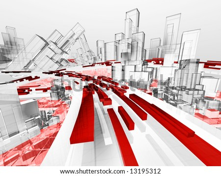 Future Technology City Abstract with Wireframe - stock photo