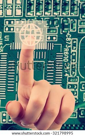 Future technology concept integrates electronics and bio-technologies - stock photo
