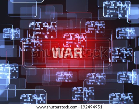 Future technology red touchscreen interface. War concept - stock photo