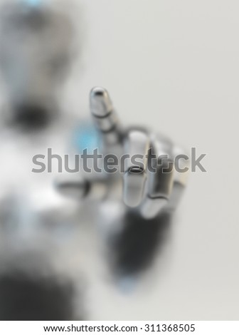 Future technology. Robot woman touch frosted glass. - stock photo