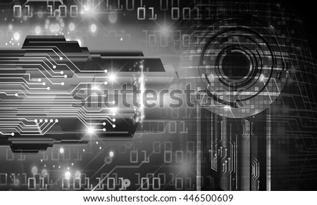 future technology, security concept background, Dark black cyber Light Abstract for computer graphic website internet. circuit. illustration. infographics. motion move. binary
