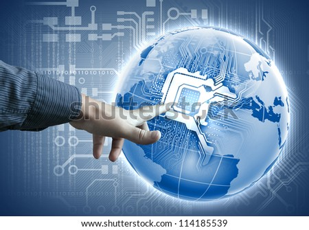 future technology. touch button inerface illustration in blue color - stock photo