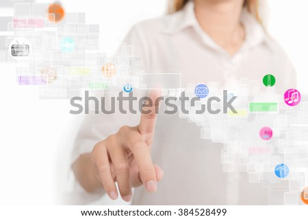 Future technology. Woman working with futuristic interface internet of things ( iot ) - stock photo