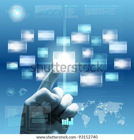 Future touchscreen interface with hand. Combination of photo and graphic. - stock photo