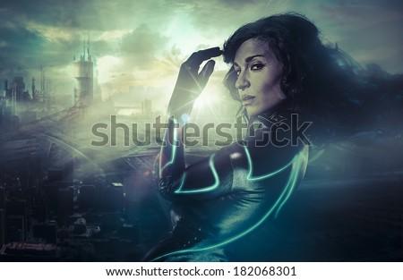Future women concept, black latex with neon lights - stock photo