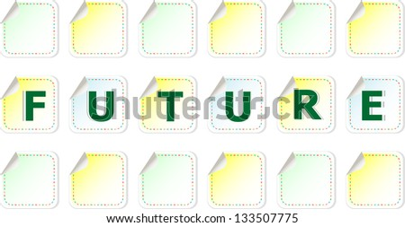 future word on stickers set, raster - stock photo