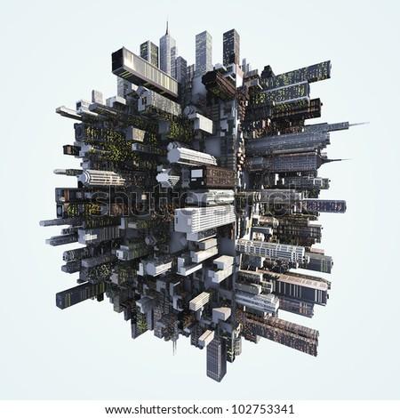 futuristc city - stock photo