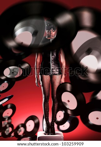 Futuristic african woman on white chair and flying vinyl records around - stock photo