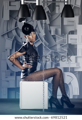 Futuristic african woman siting on white chair in labyrinth - stock photo