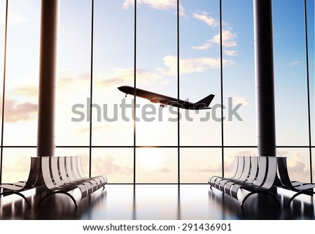 futuristic airport and big airliner in window - stock photo