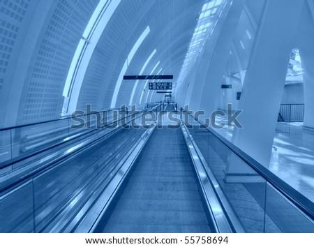 Futuristic Airport interior - stock photo