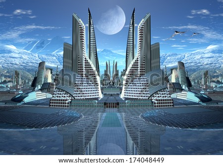 Futuristic Alien City and Landscape - stock photo