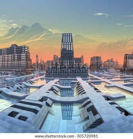 Futuristic Alien City - Computer Artwork - stock photo