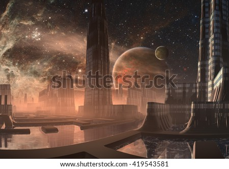 Futuristic Alien City - 3D Computer Artwork - stock photo