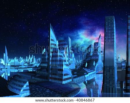 Futuristic Alien City from the Marina - stock photo