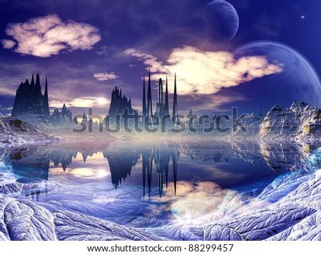 Futuristic Alien City in Winter Landscape - stock photo