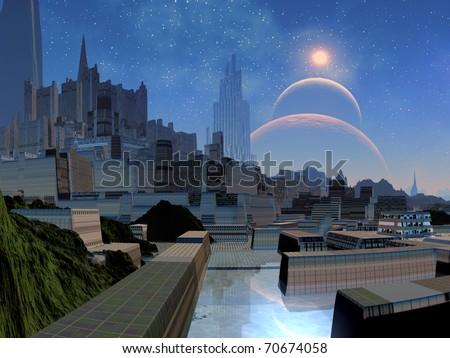 Futuristic Alien Cityscape - stock photo