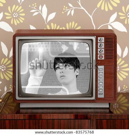 futuristic and retro contrast in vintage tv screen appear a futuristic woman [Photo Illustration]
