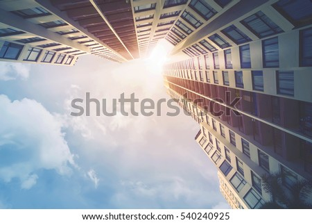 Futuristic architecture cityscape view with modern building skyscrapers