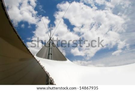 futuristic architecture detail over sky - stock photo