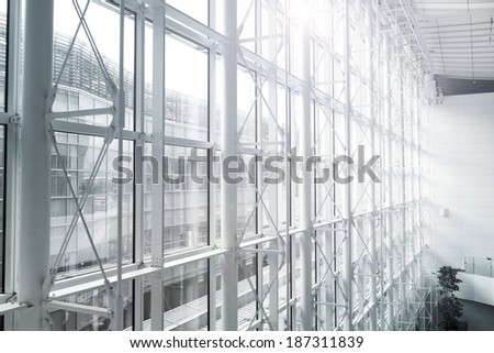 futuristic architecture inside contemporary business hallway,  - stock photo