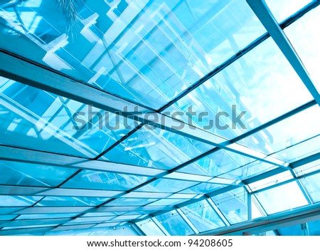 futuristic architecture inside contemporary business hallway, airport structure - stock photo