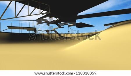 Futuristic Architecture on desert location - stock photo