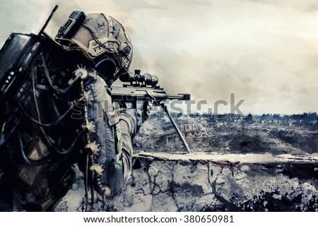 Futuristic army sniper  - stock photo