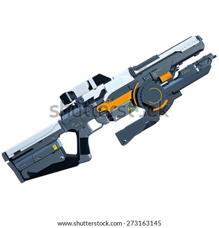 Futuristic assault weapon placed on white background - stock photo