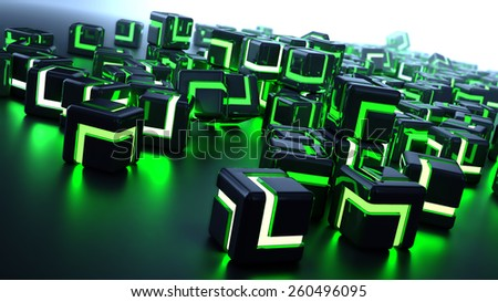 Futuristic background image - glowing metallic cubes - stock photo