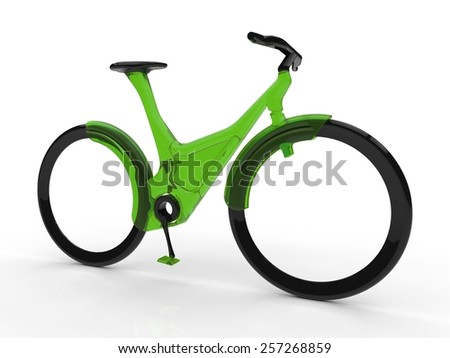 Futuristic bicycle on white background - stock photo