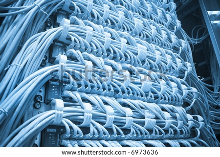 Futuristic big computer server. Abstract blue tone image - stock photo