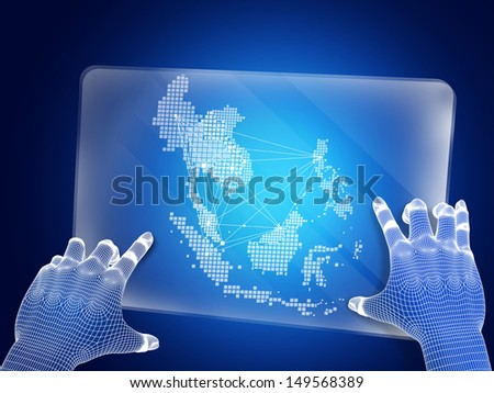 Futuristic blue figure touching screen with Asean map - stock photo