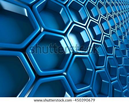 Futuristic Blue Hexagon Pattern Glossy Background. 3d Render Illustration - stock photo