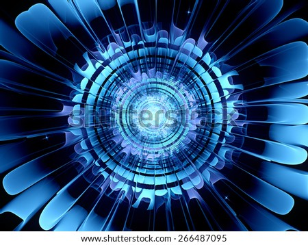 Futuristic blue new technology, computer generated abstract background - stock photo