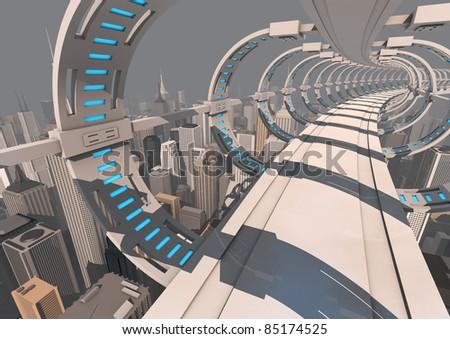 futuristic bridge over a modern city - stock photo