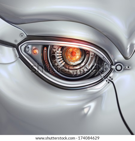 Futuristic bright cyber eye with computer digits shining closeup as a part of mechanical metal robot's face - stock photo