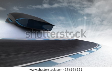 futuristic building above speed racetrack outdoors wit sky wallpaper illustration - stock photo