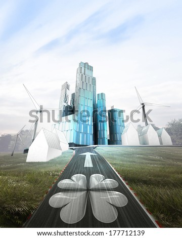 futuristic business city district with cloverleaf on highway illustration - stock photo