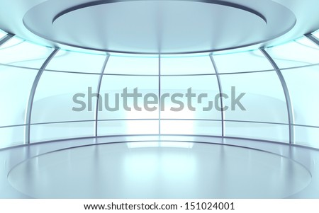 Futuristic circular hall with glass walls and reflective surfaces - stock photo