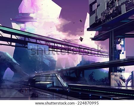 Futuristic city. Abstract drawn futuristic scifi fantasy cityscape and station with hills art illustration. - stock photo