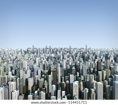 futuristic city, 3d digitally rendered illustration - stock photo
