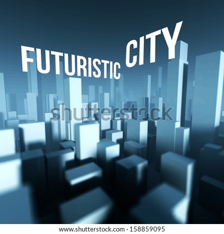 Futuristic city in 3d model of miniature town downtown, Architectural creative concept - stock photo